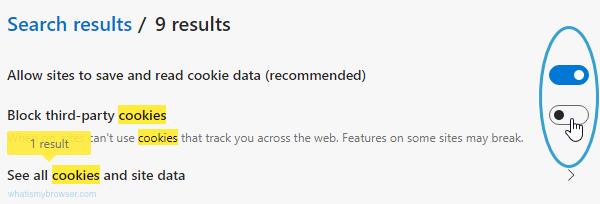 Screenshot of the Cookies options