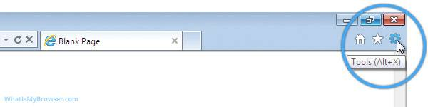 The tools menu in Internet Explorer 9