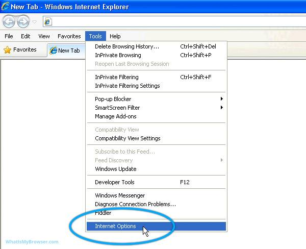 The tools menu for Internet Explorer 6/7/8