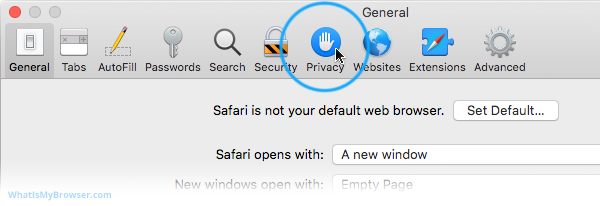 The expanded Safari menu, showing the the Preferences item